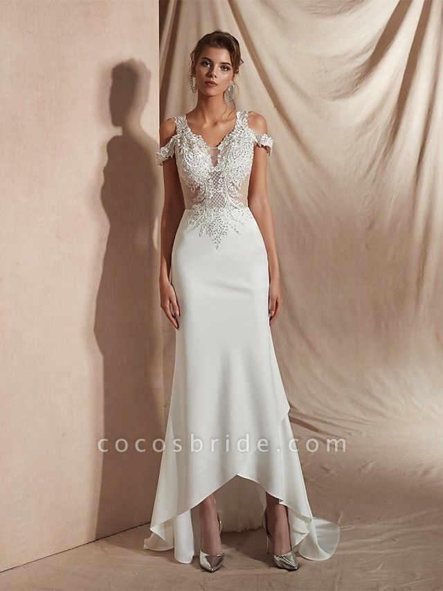 Mermaid \ Trumpet Wedding Dresses V Neck Asymmetrical Matte Satin Short Sleeve Casual Sexy Illusion Detail Modern