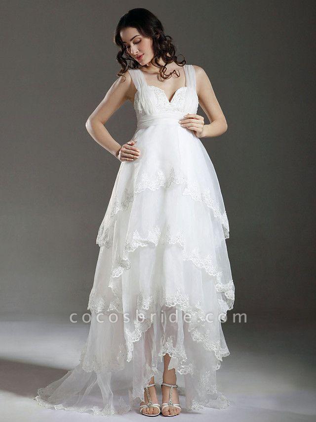 A-Line Wedding Dresses Straps Sweetheart Neckline Sweep \ Brush Train Asymmetrical Organza Sleeveless