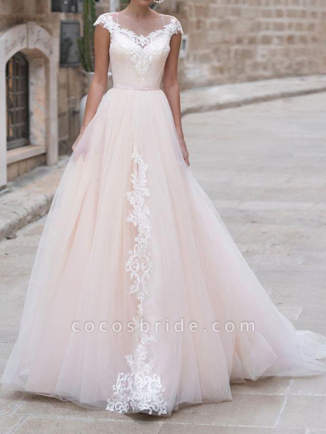 A-Line Wedding Dresses Jewel Neck Sweep \ Brush Train Lace Taffeta Chiffon Over Satin Short Sleeve Country Plus Size