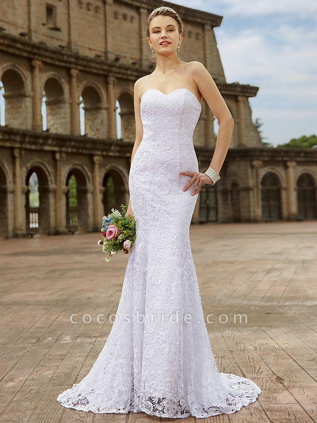 Mermaid \ Trumpet Wedding Dresses Sweetheart Neckline Sweep \ Brush Train Lace Strapless Country Plus Size