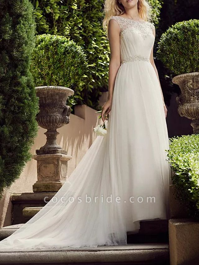 A-Line Wedding Dresses Jewel Neck Court Train Tulle Polyester Sleeveless Country Plus Size