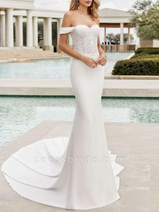 Mermaid \ Trumpet Wedding Dresses Off Shoulder Court Train Lace Satin Cap Sleeve
