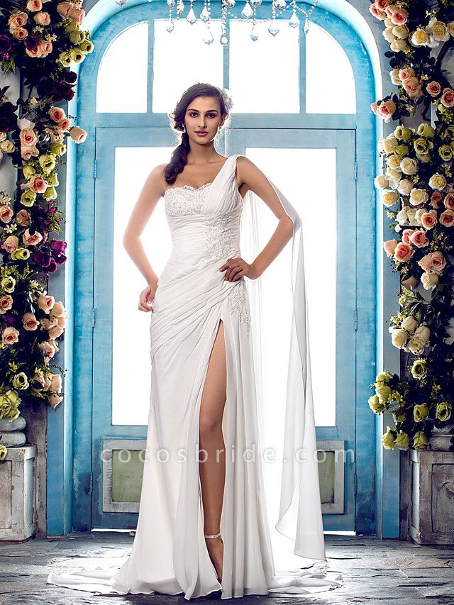 Sheath \ Column Wedding Dresses One Shoulder Sweep \ Brush Train Chiffon Regular Straps Country Simple Vintage Illusion Detail