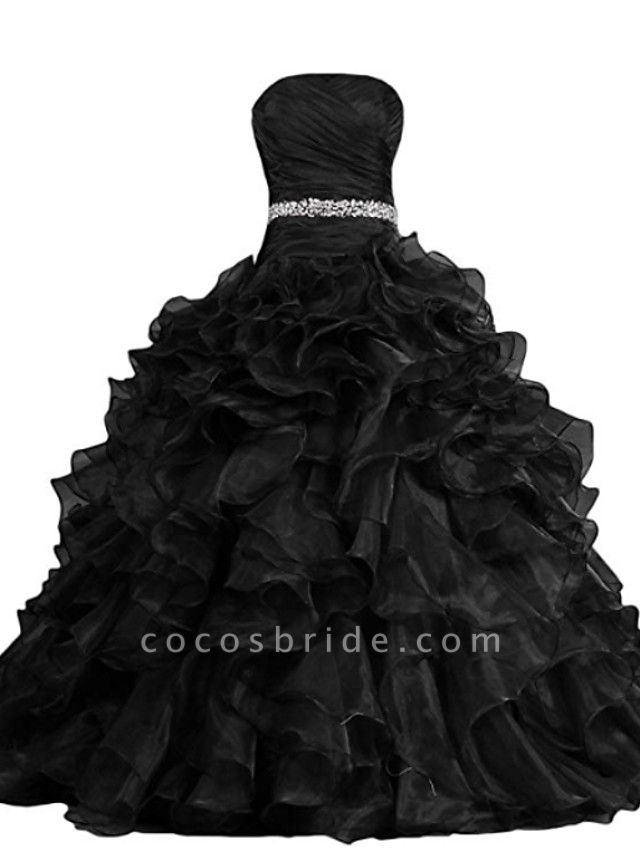 Ball Gown Strapless Sweep \ Brush Train Polyester Strapless Formal Plus Size Black Wedding Dresses