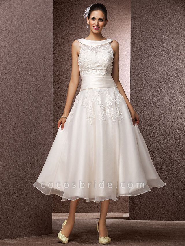 A-Line Wedding Dresses Bateau Neck Tea Length Organza Floral Lace Regular Straps Formal Casual Illusion Detail
