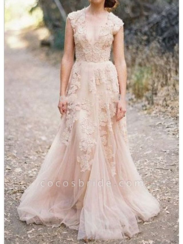 A-Line V Neck Sweep \ Brush Train Lace Sleeveless Formal Wedding Dress in Color Wedding Dresses