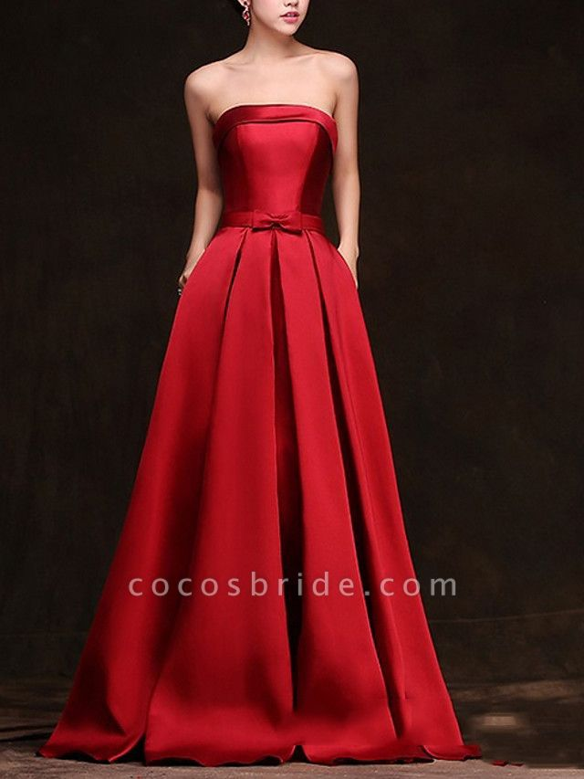 A-Line Wedding Dresses Strapless Floor Length Satin Sleeveless Formal Red