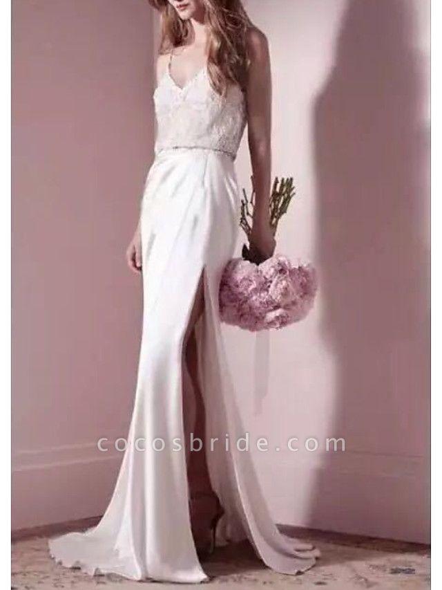 Mermaid \ Trumpet Wedding Dresses V Neck Sweep \ Brush Train Satin Spaghetti Strap Formal Simple Plus Size