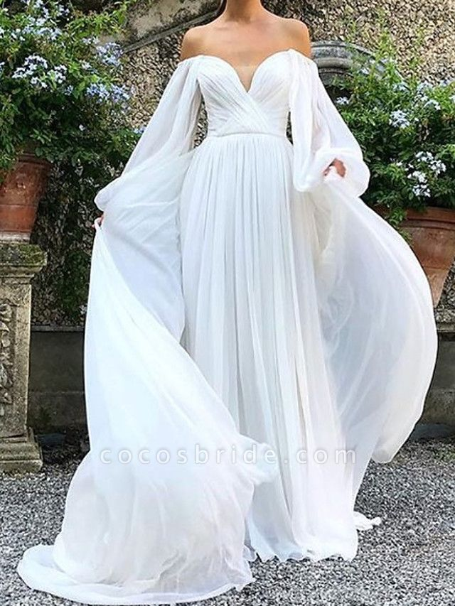 A-Line Wedding Dresses Strapless Sweep \ Brush Train Tulle Polyester Long Sleeve Country Plus Size