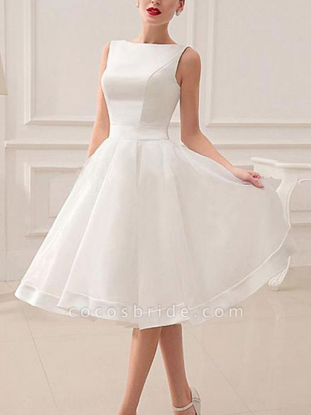 A-Line Wedding Dresses Jewel Neck Short \ Mini Satin Sleeveless Vintage Little White Dress 1950s