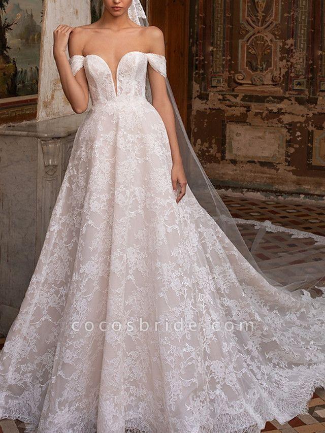 A-Line Wedding Dresses Off Shoulder Sweep \ Brush Train Lace Short Sleeve Plus Size