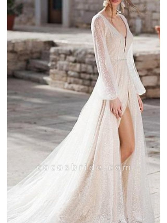 A-Line Wedding Dresses V Neck Sweep \ Brush Train Tulle Long Sleeve Illusion Sleeve