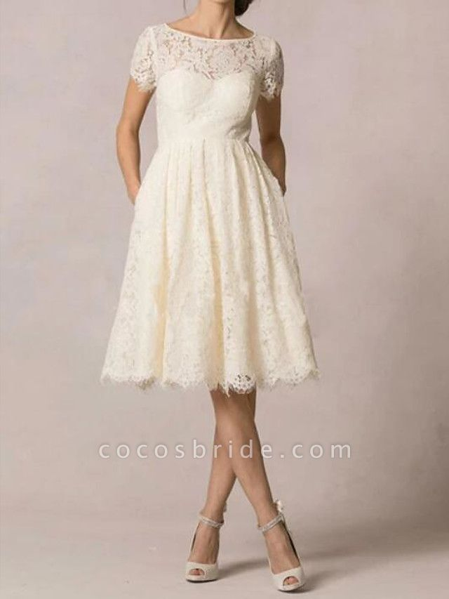 A-Line Wedding Dresses Jewel Neck Knee Length Lace Short Sleeve Casual Little White Dress Plus Size