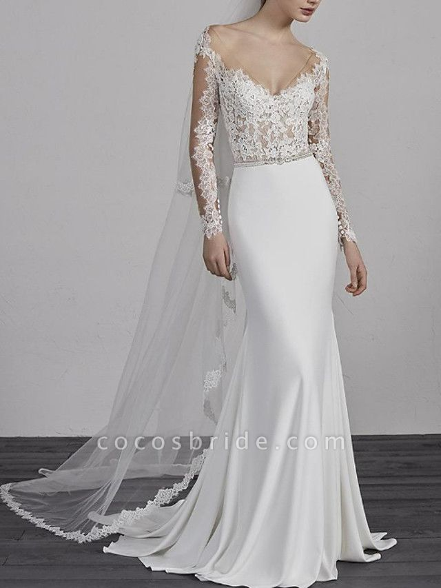 Mermaid \ Trumpet Wedding Dresses V Neck Sweep \ Brush Train Lace Charmeuse Long Sleeve Beautiful Back
