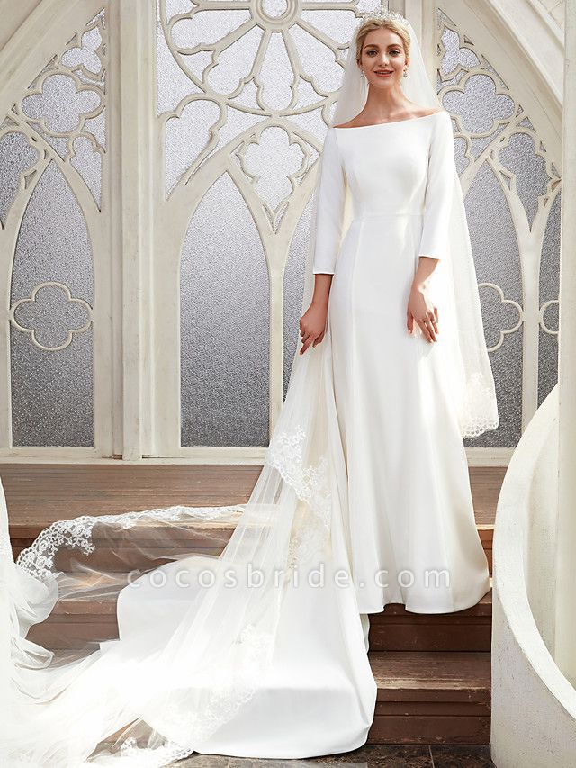 A-Line Wedding Dresses Bateau Neck Chapel Train Satin 3\4 Length Sleeve Elegant
