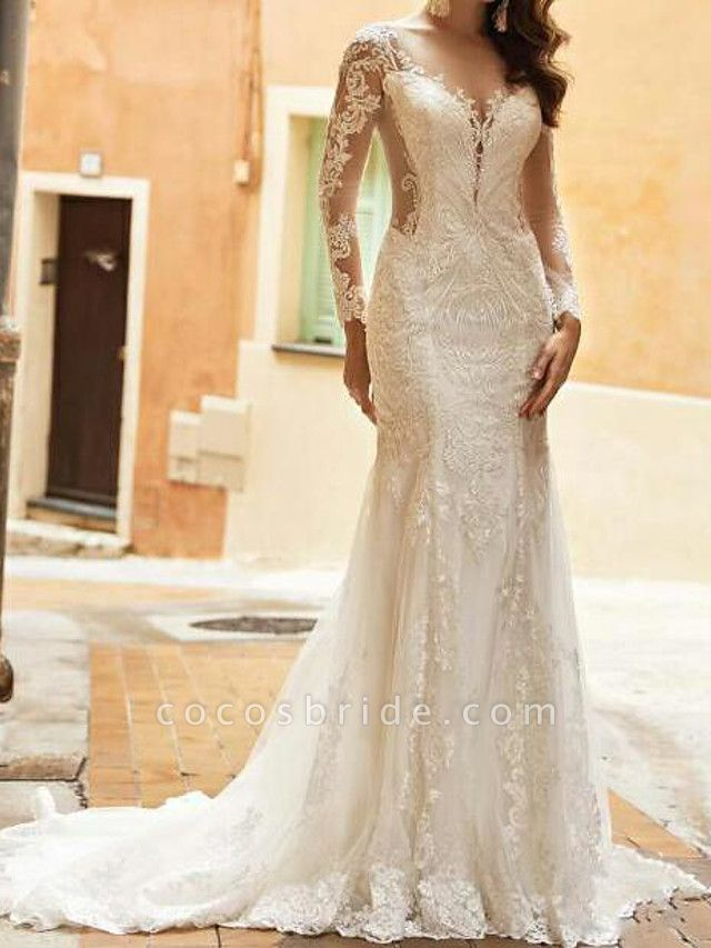 Mermaid \ Trumpet Wedding Dresses V Neck Sweep \ Brush Train Tulle Polyester Long Sleeve Country Plus Size Illusion Sleeve