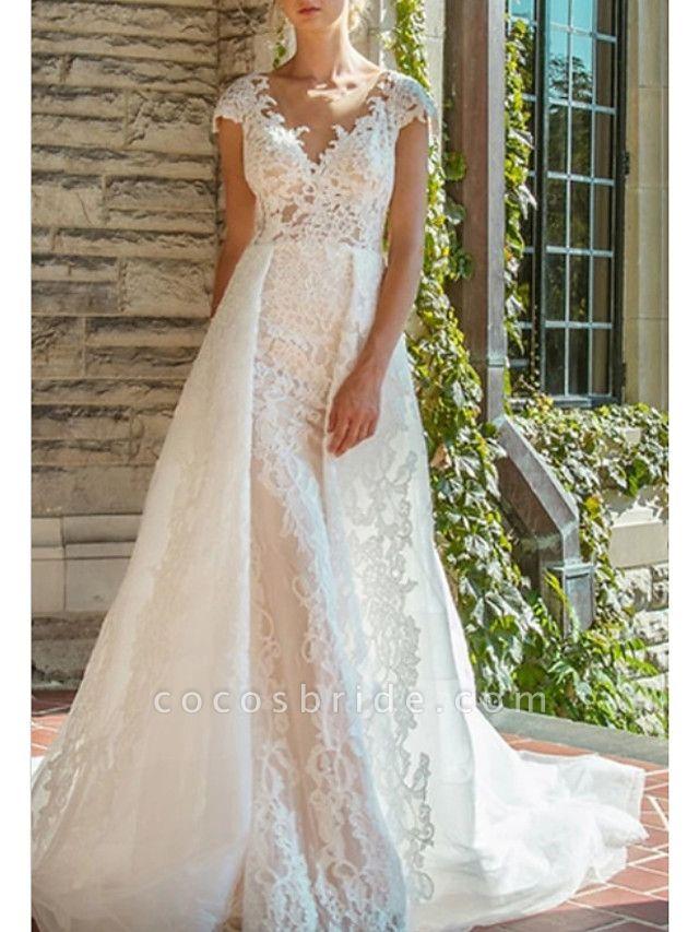 A-Line V Neck Court Train Lace Cap Sleeve Wedding Dresses