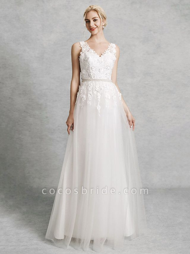 A-Line Wedding Dresses V Neck Court Train Lace Satin Tulle Regular Straps Romantic Illusion Detail Backless