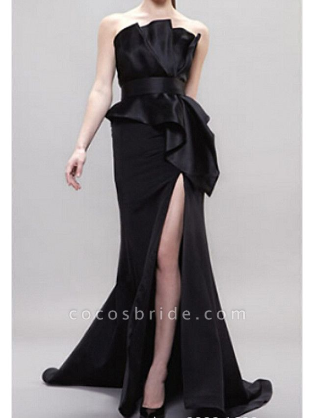 Mermaid \ Trumpet Wedding Dresses Strapless Sweep \ Brush Train Satin Sleeveless Formal Black