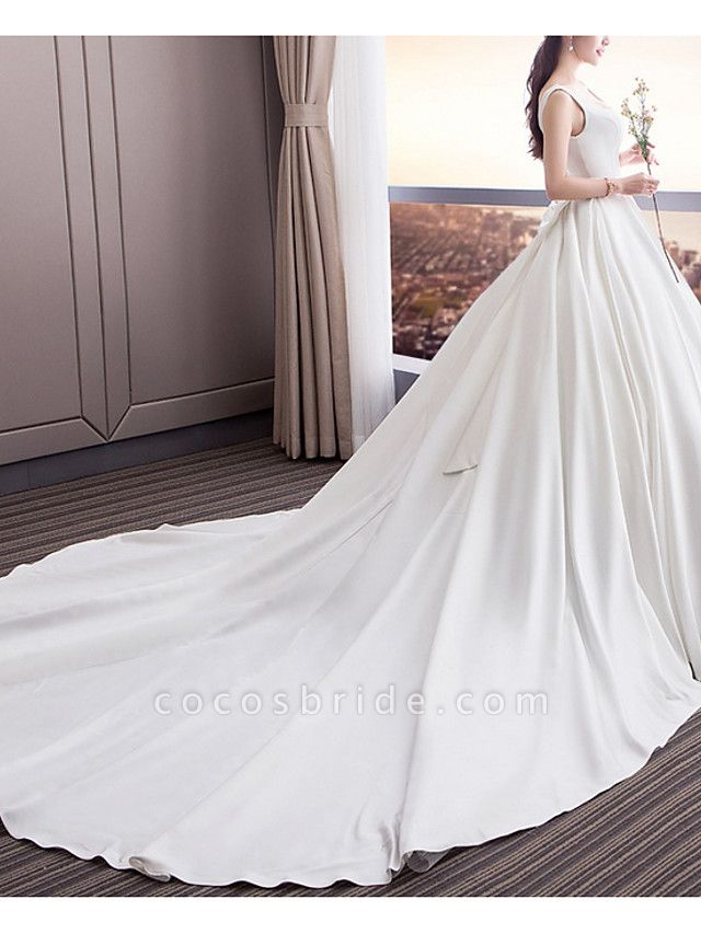 A-Line Wedding Dresses Square Neck Sweep \ Brush Train Satin Sleeveless Beach