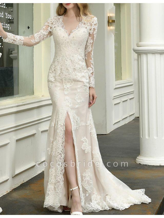 Mermaid \ Trumpet V Neck Sweep \ Brush Train Lace Tulle Long Sleeve Casual Plus Size Illusion Sleeve Wedding Dresses