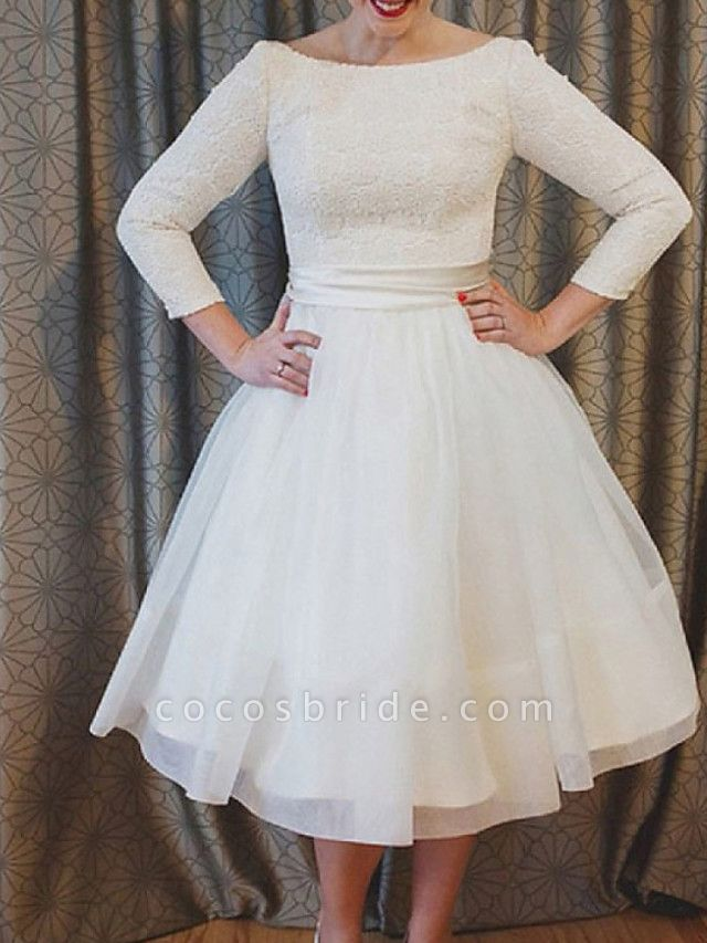 A-Line Wedding Dresses Jewel Neck Ankle Length Lace Tulle 3\4 Length Sleeve Vintage 1950s