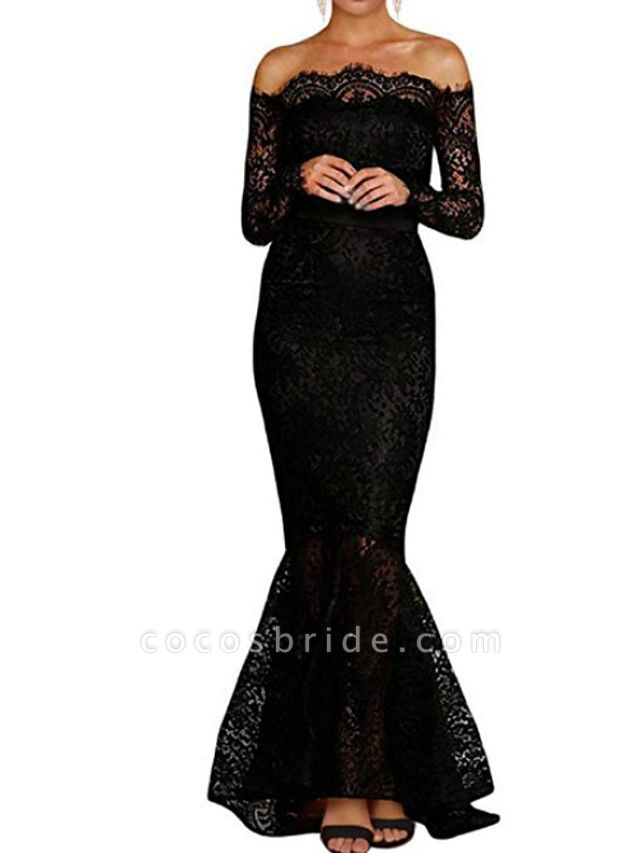 Mermaid \ Trumpet Wedding Dresses Off Shoulder Floor Length Polyester Long Sleeve Formal Plus Size Black
