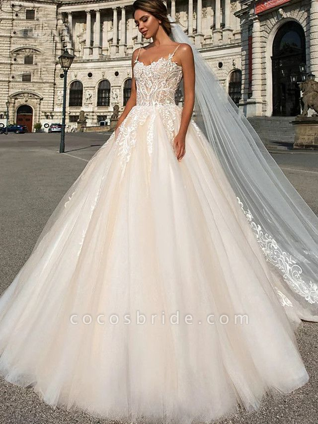 Ball Gown Sweetheart Neckline Chapel Train Lace Tulle Spaghetti Strap Wedding Dresses