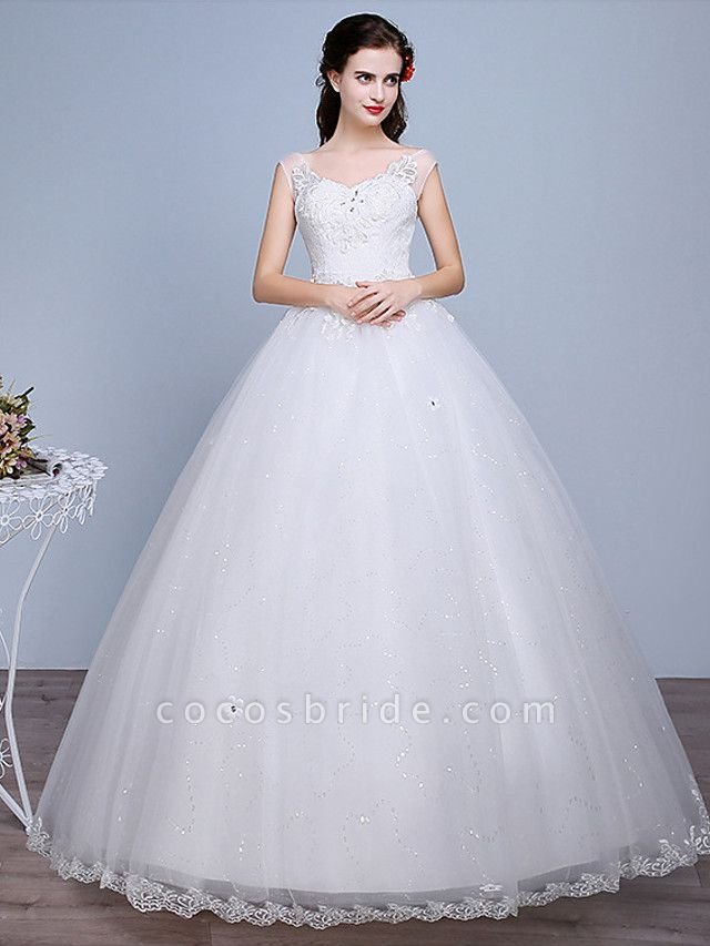 Ball Gown Wedding Dresses Sweetheart Neckline Floor Length Lace Tulle Polyester Sleeveless Romantic Glamorous Sexy