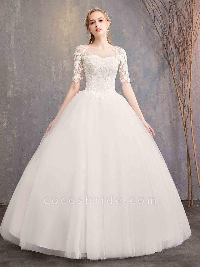 Ball Gown Wedding Dresses Sweetheart Neckline Floor Length Lace Tulle Half Sleeve Glamorous See-Through Illusion Sleeve