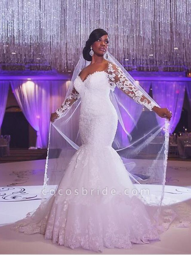 Mermaid \ Trumpet Wedding Dresses Scoop Neck Court Train Organza Long Sleeve Sexy Wedding Dress in Color