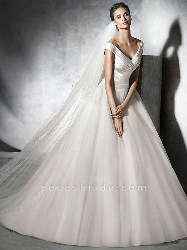 A-Line Wedding Dresses V Neck Sweep \ Brush Train Satin Tulle Cap Sleeve Simple Elegant