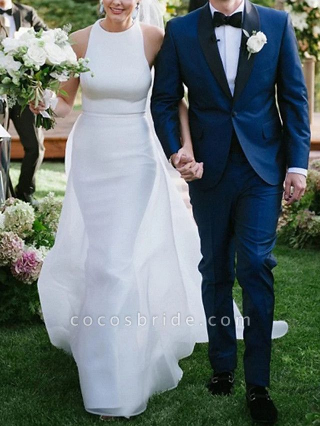 A-Line Wedding Dresses Jewel Neck Sweep \ Brush Train Satin Regular Straps Plus Size