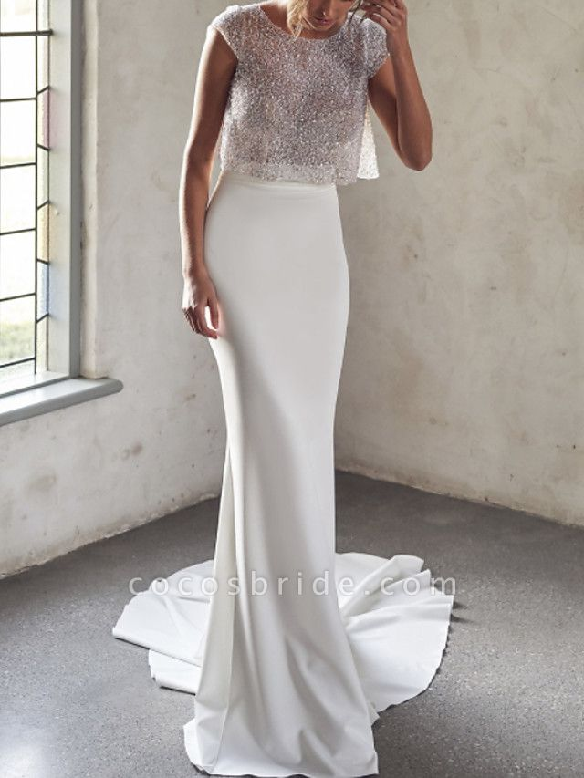 Two Piece Mermaid \ Trumpet Wedding Dresses Jewel Neck Court Train Tulle Sequined Chiffon Over Satin Cap Sleeve Sexy See-Through