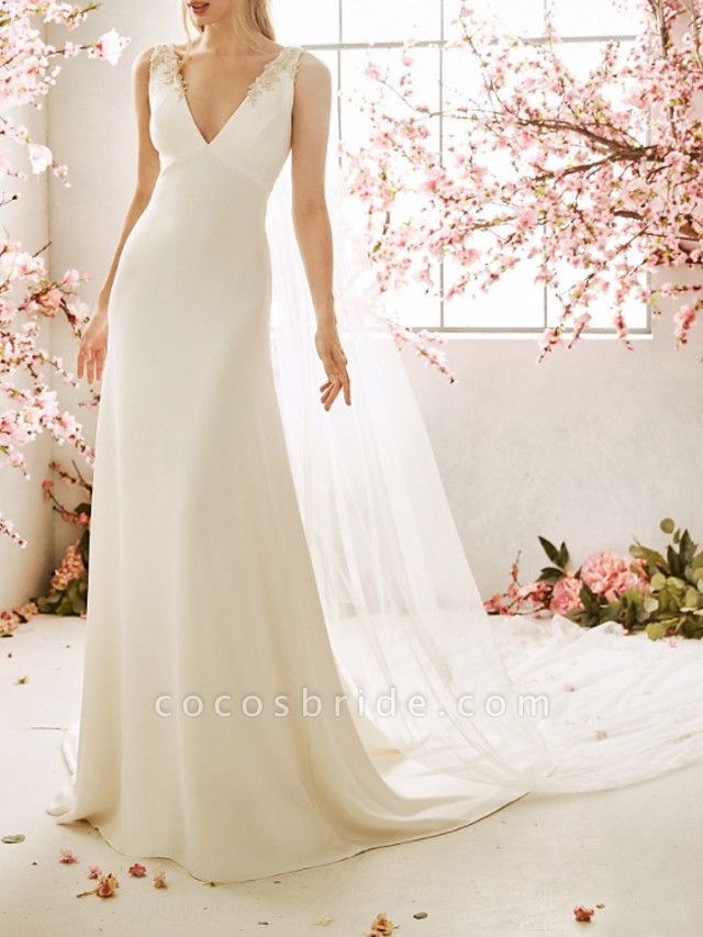 Mermaid \ Trumpet Wedding Dresses V Neck Sweep \ Brush Train Chiffon Satin Sleeveless Vintage Sexy Wedding Dress in Color Backless