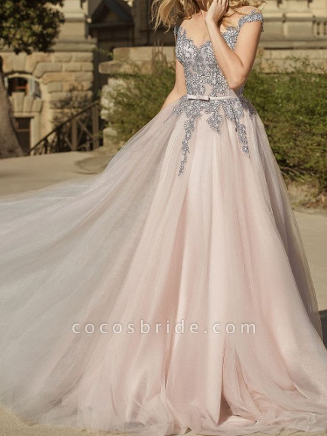A-Line Wedding Dresses Jewel Neck Sweep \ Brush Train Lace Tulle Short Sleeve Country Plus Size