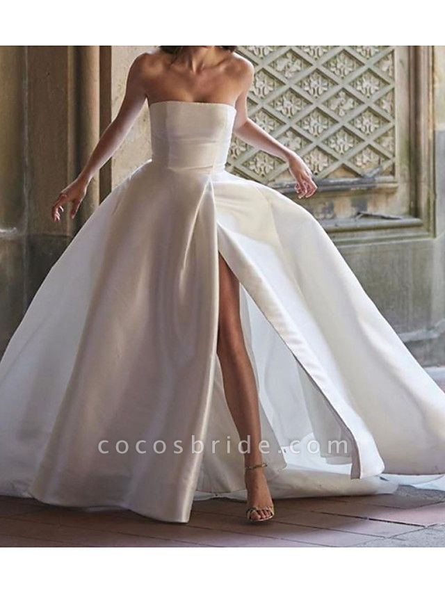 Ball Gown Wedding Dresses Strapless Sweep \ Brush Train Polyester Sleeveless Country Plus Size