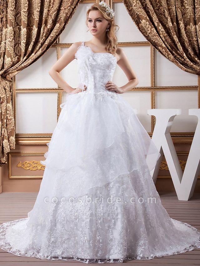 A-Line One Shoulder Court Train Lace Organza Satin Spaghetti Strap Wedding Dresses