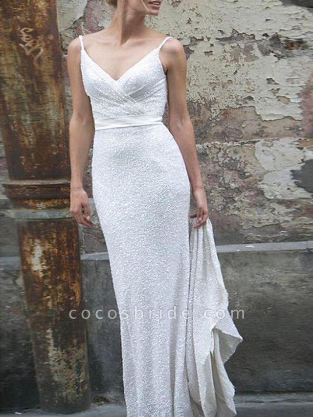 Mermaid \ Trumpet Wedding Dresses V Neck Spaghetti Strap Sweep \ Brush Train Satin Sequined Sleeveless Simple Backless