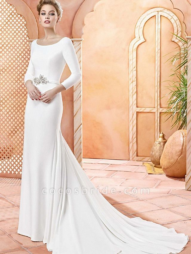 Sheath \ Column Wedding Dresses Scoop Neck Sweep \ Brush Train Satin 3\4 Length Sleeve Simple Vintage Plus Size Elegant