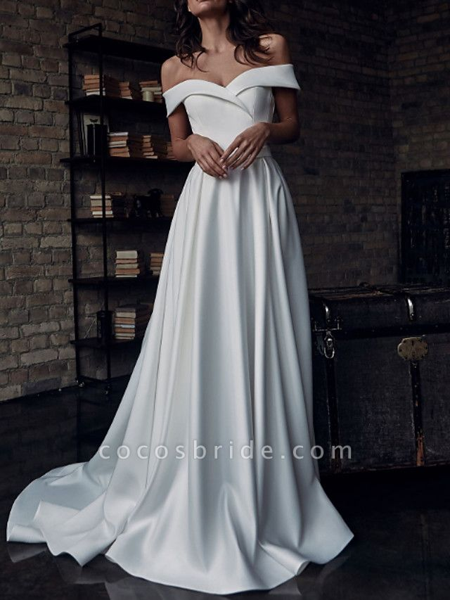 A-Line Wedding Dresses Off Shoulder Sweep \ Brush Train Stretch Satin Short Sleeve Country Plus Size