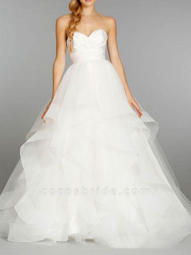 Ball Gown Strapless Floor Length Tulle Sleeveless Formal Wedding Dresses