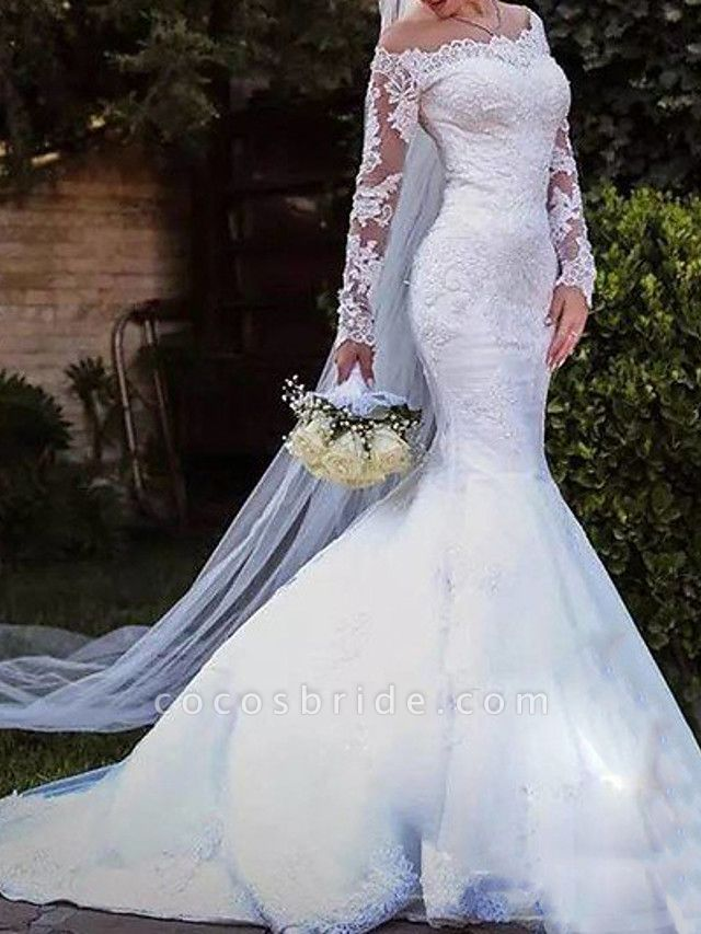 Mermaid \ Trumpet Off Shoulder Sweep \ Brush Train Lace Tulle Long Sleeve Country Plus Size Wedding Dresses