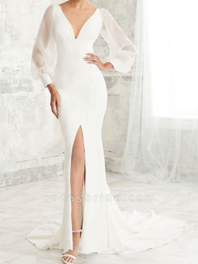 Mermaid \ Trumpet Wedding Dresses V Neck Court Train Tulle Stretch Satin Long Sleeve Simple Illusion Sleeve