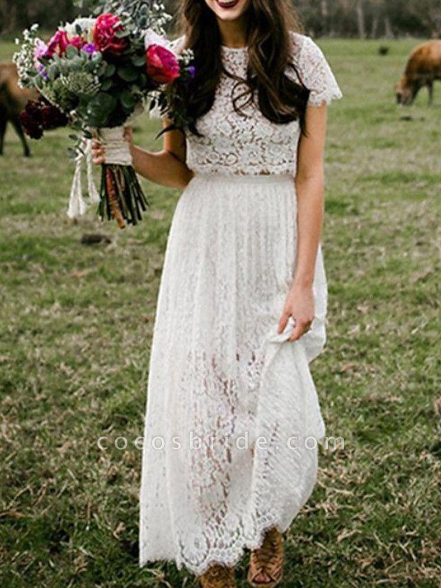 Two Piece A-Line Wedding Dresses Jewel Neck Ankle Length Lace Short Sleeve Beach Boho