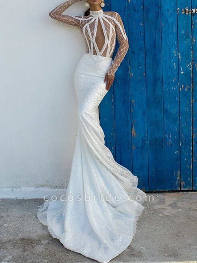 Sheath \ Column High Neck Court Train Lace Satin Long Sleeve Country Sexy Wedding Dress in Color Wedding Dresses