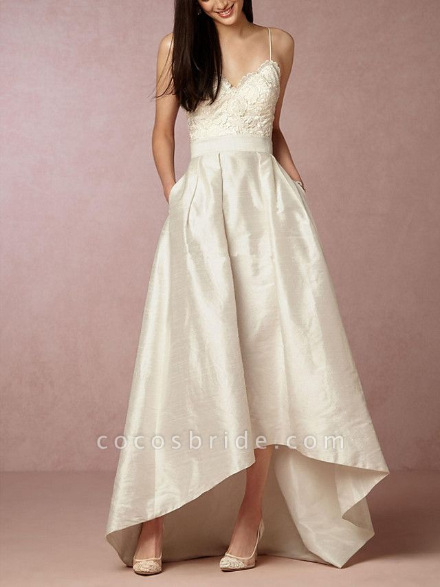 A-Line Wedding Dresses V Neck Asymmetrical Satin Sleeveless Formal Little White Dress