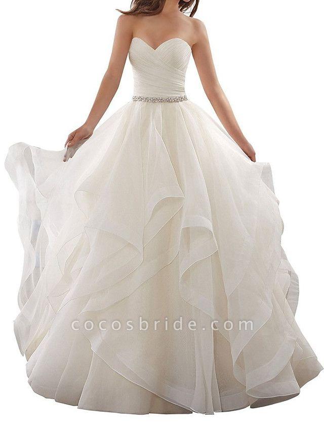 A-Line Wedding Dresses Sweetheart Neckline Chapel Train Organza Strapless Plus Size