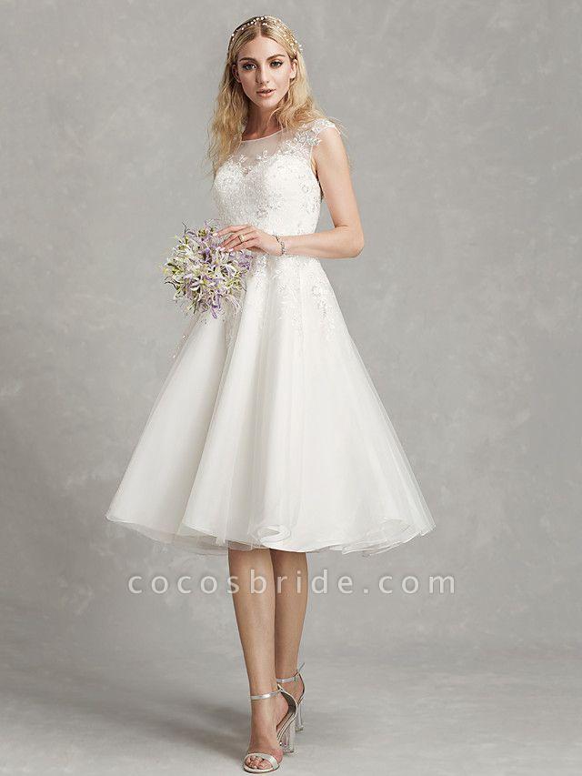 A-Line Wedding Dresses Jewel Neck Tea Length Lace Tulle Cap Sleeve Beautiful Back