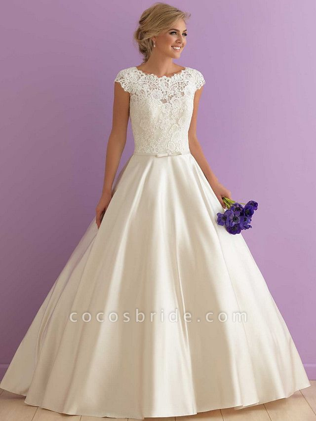 A-Line Wedding Dresses Jewel Neck Floor Length Satin Cap Sleeve Country Casual Illusion Detail